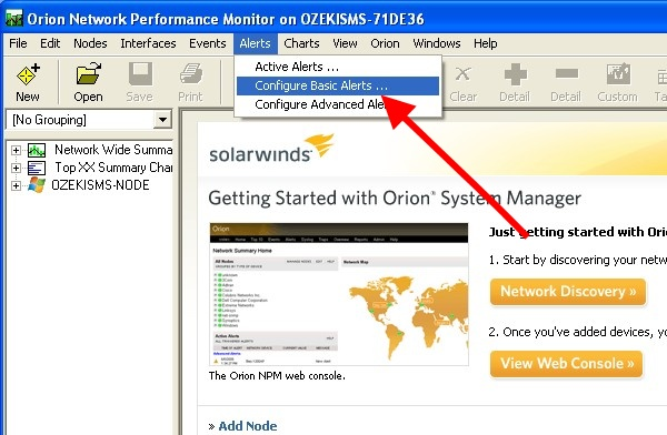 Implement SMS alerts into Solarwinds Orion Network Performance Monitor